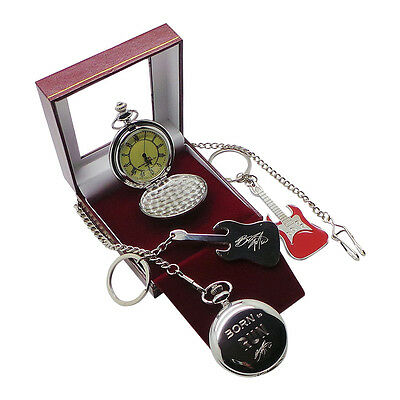 Signed BRUCE SPRINGSTEEN Pocket Watch with Chain and Electric Guitar Keyring