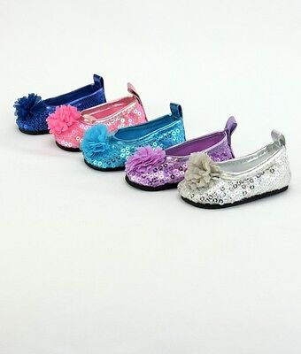 AFW Sequin and Flower Flats Shoes fit American Girl Dolls -THINK HOLIDAYS