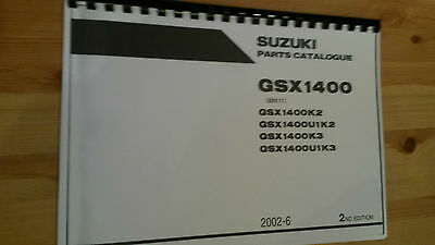 Suzuki Gsx1400 Parts Manual K2 K3 Models Reprinted Comb Bound 100 Pages