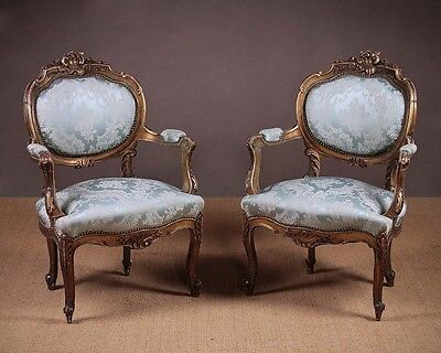Antique Pair French Louis XV Style Gilded Armchairs c.1900