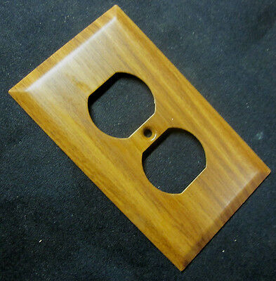 Vintage Retro Oak Wood Grain Mid Tan Steel Receptacle Outlet Wall Cover Plate