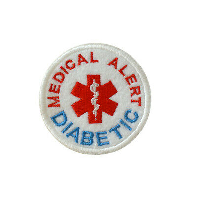 Iron on and Sew On Embroidered Patch Medical Alert DIABETIC