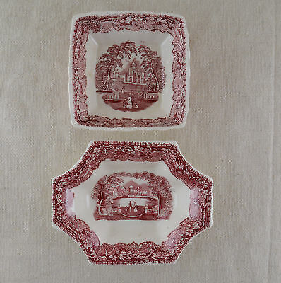 Masons Vista Pink Two Sweet Dishes Crazing Present