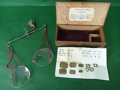 Antique Pocket Apothecary Jeweller Glass Swing Balance Scales, Oak Box, Weights