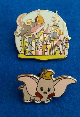 """2 Disney Pins  Dumbo It's A Small World """"Happiest Place On Earth Retro Mystery"""""""