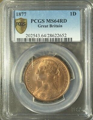 1877 Queen Victoria Great Britain Bronze One Penny Coin PCGS MS64 RD