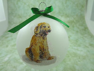 D016 Hand-made Christmas Ornament dog- goldendoodle labradoodle - sitting pretty