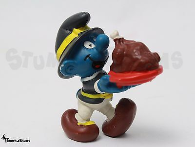 Vintage PEYO SMURFS Thanksgiving Pilgrim TURKEY Carrying SMURF Schleich 1982