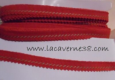 1/5/10/20 m Ruban galon 17 mm Rouge/or coton couture mercerie passementerie