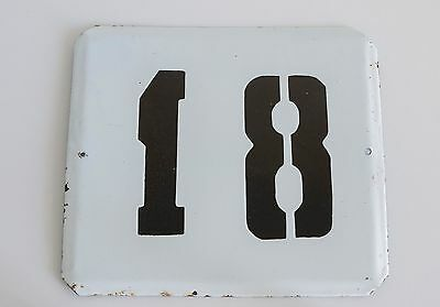 Vintage house Number Metal Enamel SIGN 18