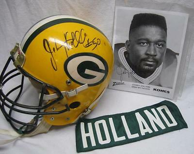 Johnny Holland Signed GAME WORN HELMET Jersey Name Plate +More Green Bay Packers