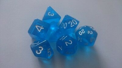 BWT Dice 7 x Polyhedral dice Set Gem Blue with White D&D RPG