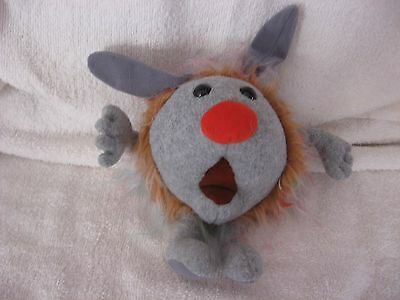"""1995 Fuzzy or Wuzzy DUST BUNNY 12"""" Plush Gray Ears Big Comfy Couch Molly Vintage"""