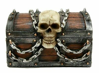"6"" Long Caribbean Pirates Haunted Chained Skull Treasure Chest Box Jewelry Box"