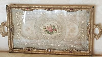 "Antique Lrg. Jeweled Perfume Vanity Tray 18"" Gold Ormolu w/ Lace Insert"