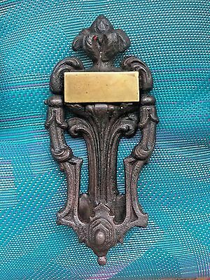 "Antique Cast Iron Door Knocker dated 1775 brass plate 8"" marked dated victorian"