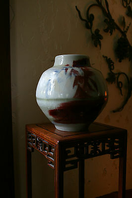 Beautiful Vintage Asian Chinese Art Pottery Red & Blue Glazed Bamboo Vase