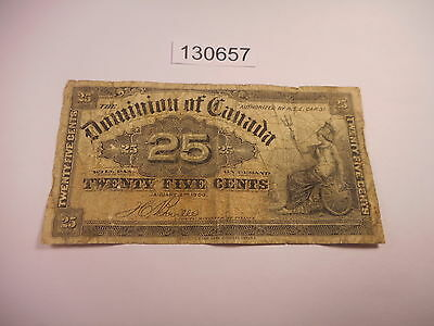January , 1900 Dominion of Canada .25 Currency Bank Note Collectible - # 130657
