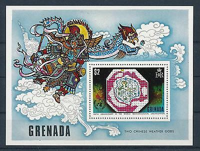 [19514] Grenada 1973 Meteorological organisation chinese weather gods S/S MNH