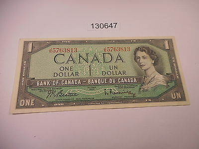 1954 Bank of Canada $ 1.00 Currency Note Higher Grade Very Nice - # 130647