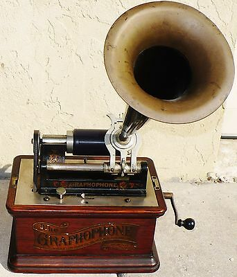 Antique Columbia Phonograph Graphophone Talking Machine Type Az Pat 1897 Works