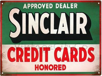 "Antique Style "" Sinclair Credit Cards "" Approved Dealer Advertising Metal Sign"