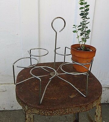 Vintage Metal Wire Plant Pot Carrier Caddy with 6 Holders Garden Rack