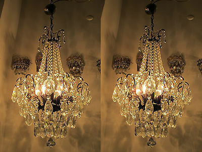 "A Pair of Antique Vintage Spider Style Crystal Chandelier lamp 1940s 16""in dmtr"