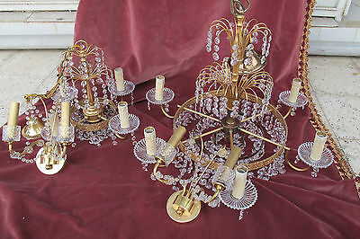 Vintage Set of French Swarovski Crystal Two Chandelier +Wall lamp light 1960s RR