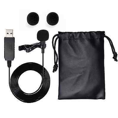 USB Lapel Clip-on Condenser Mic Microphone for Laptop Computers Mac