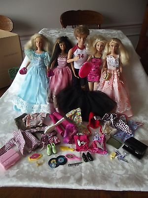 Barbie Lot 5 Dolls ( 4 GIRLS 1 BOY) With Accessories AND Clothes