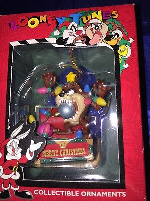 "Matrix Looney Tunes TAZ  AS SANTA CLAUS 3"" CHRISTMAS ORNAMENT 1996 NEW"