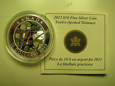 2013 Proof $10 Dragonfly #1-Twelve-Spotted Skimmer Canada COIN&COA ONLY .9999 si