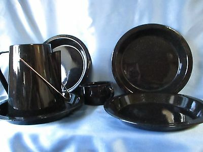 Black & White Spattered Granitware Enamelware Camping Dishes