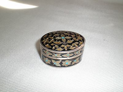 vintage antique sterling silver 925 cloisonne enameled snuff/pill box