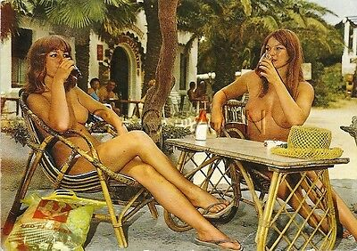 Original 1960s French Nude Pinup PC- Naturisme- Two Women at the Bar- Drinks
