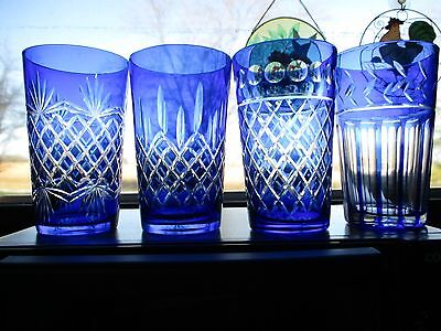Set Of Four (4) Cobalt Blue Cased Crystal High Ball Glasses Tumblers ~Mint!