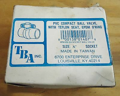 "New Tba Inc. 3/4"" Pvc Comact Ball Valve W/teflon Seat Vp912S 3/' Socket Ball Val"