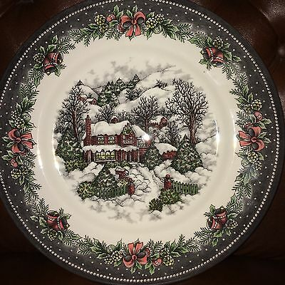 "(4) Royal Stafford Cottage Snowman Christmas Dinner Plates 10.5"" ~ NEW ~"