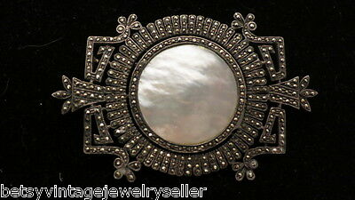 Art Deco Sterling Silver, Mother of Pearl & Marcasite Pin
