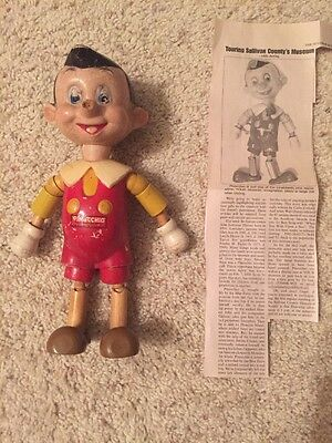 Vintage 1930s Ideal Disney PINOCCHIO COMPOSITION WOOD Fully Jointed + Article