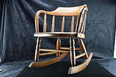 Antique Signed Child Size Wooden Rocking Chair Windsor Style Curved Back