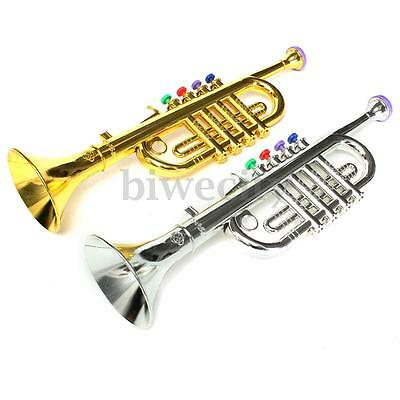 Mini Golden / Silver Horn Trumpet Instrument For Child Kids Toy Birthday Gift