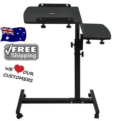 Computer Desk Rotating Mobile Laptop iPad Adjustable Stand Table Bed Tray w/ Fan