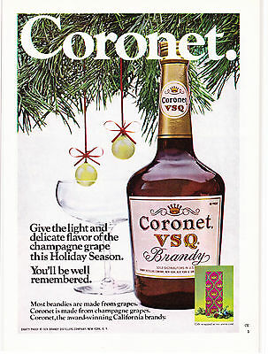 Original Print Ad-1974 Give CORONET VSQ BRANDY/Holiday-You'll Be Well Remembered