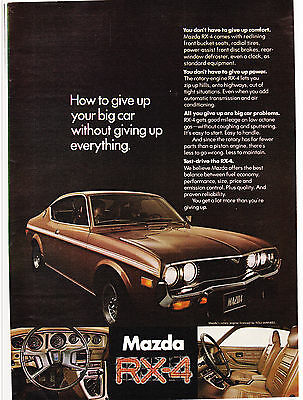 Original Print Ad-1974 MAZDA RX-4-How to Give Up Your Big Car-ROTARY NSU-WANKEL