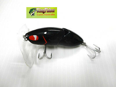 Kingfisher Mantis 88mm articulated surface lure; 08 black jack + spare bib