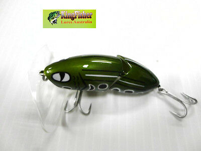 Kingfisher Mantis 88mm articulated surface lure; 13 olive frog+ spare bib