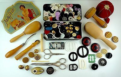 Antique Vintage Sewing Lot Pin Cushion Wood Tools Darners Scissors Tin & Buttons