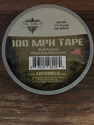 "TAC SHIELD OD green 100 MPH multi-purpose TAPE # 03986 new 2"" x 10yds HEAVY DUTY"